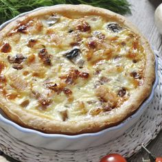 This chicken and mushroom quiche recipe is from scratch and is super delicious.  Complete this meal with a fresh salad.