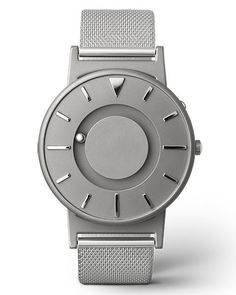 The Eone Bradley Silver Mesh Band is a tactile timepiece that allows you to not only see what time it is, but to feel what time it is.
