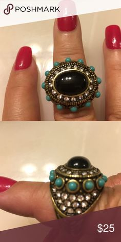 Heidi's vintage collection excellent condition Onyx an Turquoise antique gold excellent condition Jewelry Rings