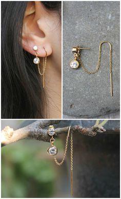 gold filled Threaded earrings threader thread cubic zirconia stud dangle drop double hook 2 piercings set of two connected earrings Emerald Earrings, Bar Earrings, Crystal Earrings, Geode Jewelry, Ear Jewelry, Fine Jewelry, Jewellery, Jewelry Box, Bijoux Diy