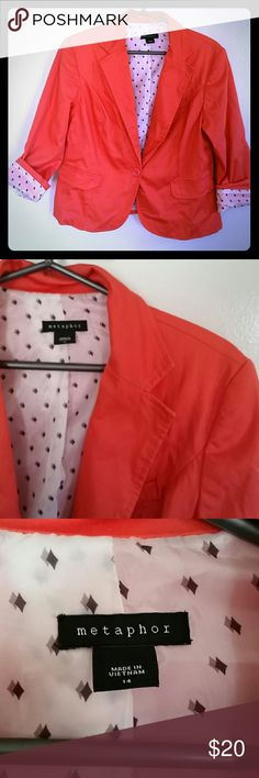 Metaphor coral pattern lined jacket/blazer size 14 EUC Metaphor brand coral/melon colored jacket. Adorable black and white diamond patterned lining. Single button. Size 14.   Excellent used condition. No snags, marks, or stains. Metaphor Jackets & Coats Blazers