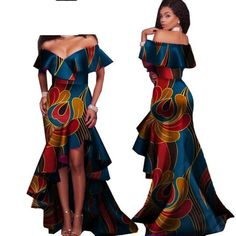 African Style Long Dress For Women Cotton Print Kitenge Ankara Sexy Slash Neck African Fashion Designers, African Print Fashion, Africa Fashion, African Wear Dresses, African Attire, African Outfits, Dresses Dresses, Sexy Long Dress, Mini Short