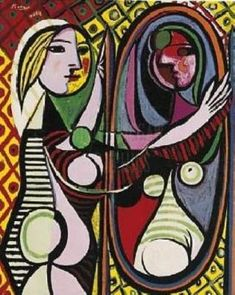 """""""Girl Before a Mirror"""" Pablo Picasso cubist painting"""