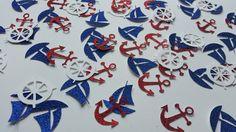 Nautical table confetti (1.5 inch/ 4cm). Red glitter anchor, blue glitter yacht & white steering wheel confetti x 60 by Garlandsandgifts on Etsy