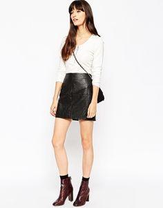 ASOS Textured PU Mini Skirt