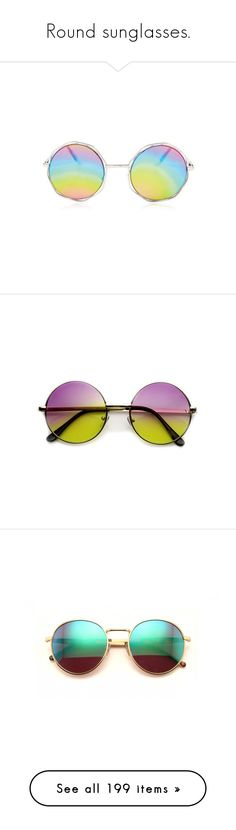 """""""Round sunglasses."""" by tuomoon ❤ liked on Polyvore featuring accessories, eyewear, sunglasses, glasses, circle sunglasses, circular sunglasses, snap glasses, circular glasses, sunglass pouch and rainbow lens sunglasses"""