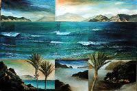 NZ Coastal art with a Maori Heritage influence. These coastal landscapes are worked in oil on canvas, paper or linen often with torn edges depicting the rugged nz coast. View at his Nelson gallery or online. New Zealand Landscape, Coastal Art, Painters, Oil On Canvas, Art Projects, Art Gallery, Strong, Contemporary, Water