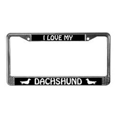I Love My Dachshund (long haired) License Plate Frame