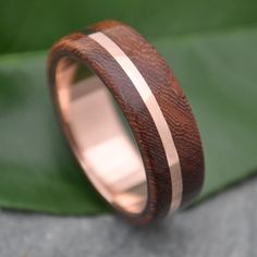 ROSE GOLD Wood Ring Solsticio Oro Nacascolo - 14k rose gold, pink gold wood…
