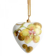 Porcelain Jewelry: Luxury Gold Heart Necklace Orchid #valentinesday #giftforher #jewelrygifts #handmade #porcelain #paris