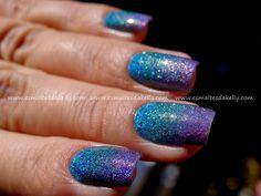 Esmaltes da Kelly: Gradient Nail holográficos + Konad M60