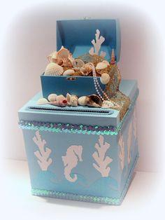 Beach Wedding Card Box Custom Beach Wedding by uniqueboxboutique, $139.00