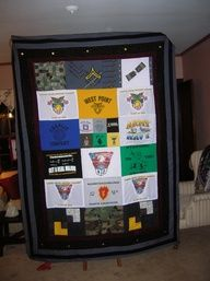 Awesome quilt made by a West Point/USMA mom from her son's uniforms and t-shirts.