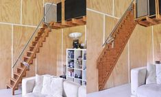 Tiny House Big Living, Tiny House Stairs, Attic Stairs, Stair Ladder, Folding Ladder, Space Saving Furniture, Furniture For Small Spaces, Compact Stairs, Standard Staircase