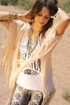 A Rosy Outlook Tank styled with Free People pants and Spell & The Gypsy Collective kimono