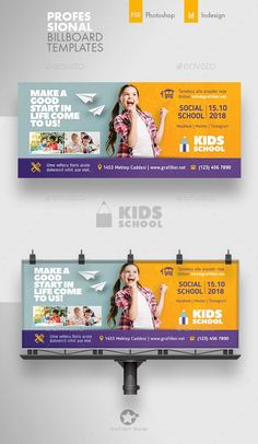 Buy Kids School Billboard Templates by grafilker on GraphicRiver. Kids School Billboard Templates Fully layered INDD Fully layered PSD 300 Dpi, CMYK IDML format open Indesign or l. School Advertising, Advertising Design, Billboards Advertising, Advertising Campaign, Web Design, Web Banner Design, Hoarding Design, Banner Design Inspiration, Education Banner