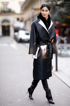 silk robe coat with edgy boots