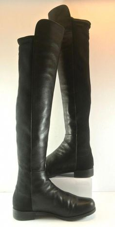 decc4c06355 Stuart Weitzman 5050 Black Nappa Leather Knee High Boot Womens Size US 8.5M