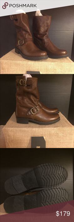Frye Veronica Short 2, BNIB in Cognac 100% Soft Vintage Leather Imported Leather and Rubber sole Incredible cushioning and durability in the pull on engineer style bootie Frye Shoes Ankle Boots & Booties
