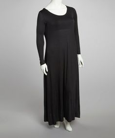 Take a look at this Black Long-Sleeve Maxi Dress - Plus by GLAM on #zulily today!      lj