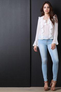 248ec771ca3aab Chiffon Cascade Ruffle Long Sleeve Blouse Top Dressy Tops
