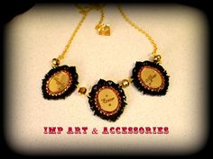 FAIRYTALE ENDING-Double Layer Gold Etched Mirror and Black Laser Cut Acrylic Crystal Triple Cameo Necklace