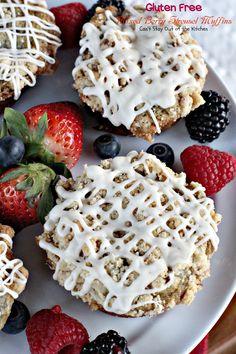 Gluten Free Mixed Berry Streusel Muffins are filled with strawberries, raspberries, blueberries, raspberries, Greek yogurt, streusel topping