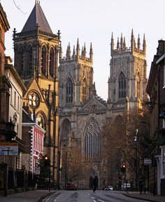winter morning, historic cathedral and city, York, England.