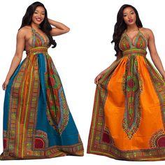 Most Popular Ethnic Print Dresses Women V Neck Strap Evening Floor-length Dashiki Maxi Dress Big Dresses, Casual Summer Dresses, Club Dresses, Vintage Dresses, Maxi Dresses, African Dashiki Dress, African Print Dresses, African Fashion Dresses, Maxi Dress Wedding