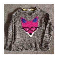 fox sweater  Grey sweater with cute fox face. Can fit a small or medium as oversized sweater.   no trades, paypal, & mercari  bundle for 15% discount  not smoke or pet free Rewind Sweaters Crew & Scoop Necks