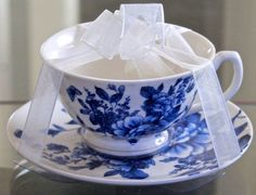 GRACE'S TEAWARE TEACUP & SAUCER SET BLUE ROSE FLORAL PORCELAIN NEW #GRACESTEAWARE