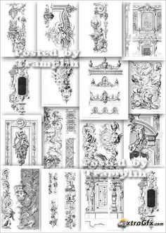 Samples  of different styles of ornament of the old furniture