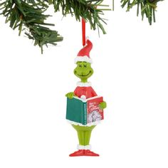 f7a849cf Grinch Reading Ornament Dr Seuss Grinch, Grinch Who Stole Christmas, Department  56 Christmas Village