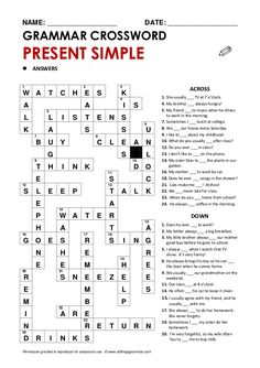 grammar crossword present simple resuelto English Test, Kids English, English Reading, Learn English Words, English Lessons, English Grammar Games, English Grammar Exercises, Grammar Quiz, Grammar Lessons