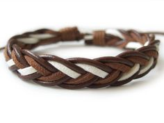Leather Bracelet Mens Bracelet Brown Leather Braided by ACuteCute, $4.00
