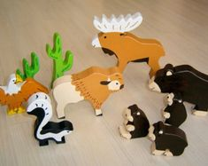 pdf patterns / tutorial for 10 different wooden animals in Waldorf style, DIY - bison, bear, moose, eagle, skunk