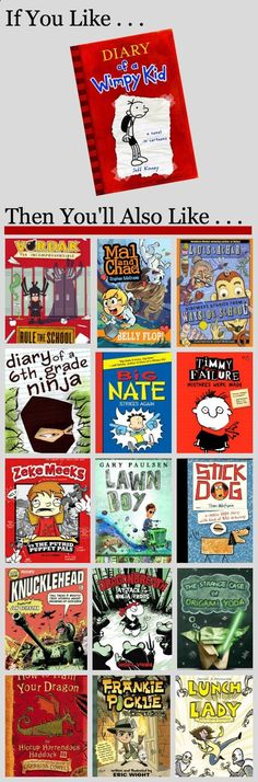 If You Like Diary of a Wimpy Kid, You Will Also Like These Books. If your children love the Diary of a Wimpy Kid books, you'll want to keep them reading with other books they will love just as much. (And are about the same reading level. Library Lessons, Library Books, Library Ideas, Genre Lessons, Reading Library, Kids Reading, Teaching Reading, Reading Lists, Reading School