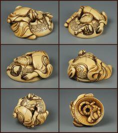 Antique Ivory- Shoki tries to trap an Oni