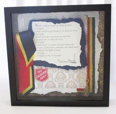 "Volunteer Recognition Gift.  The Salvation Army, William Booth speech, ""While Women Weep.""  Mixed media, art papers, embroidery, 3D mounting - 12 x 12 custom shadow box art."