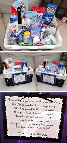 Different colors and word rhyme.  Link: http://gallery.weddingbee.com/photo/diy-bathroom-baskets
