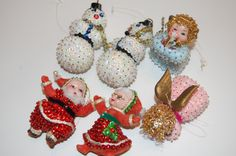 Cute, vintage sequined Christmas ornaments. Your choice of 2 sets, 2 in each set. 2 white snowmen or pink and blue angel. Maybe you remember these from when you were little. Or start a new memory for a child. Cute and non breakable. NOT suitable for very young children to handle. Each ornament is 2 1/2 - 3 tall.