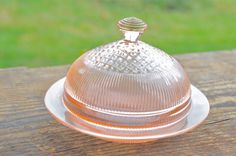 Vintage Jeanette Homespun Pink Depression Glass Round Butter Dish on Etsy, $30.00