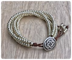Silver Beaded Wrap Bracelet With a Celtic Knot Button Leather JewelryEveryday BraceletBeaded BraceletSeed Bead BraceletBohemian Jewelry Beaded Wrap Bracelets, Seed Bead Bracelets, Handmade Bracelets, Beaded Jewelry, Jewelry Bracelets, Handmade Jewelry, Jewlery, Necklaces, Jewelry Knots