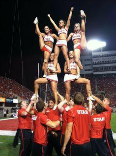 Utah #cheer #cheerleading #stunt #college #football #strength #sport #coed #twohigh #heelstretch