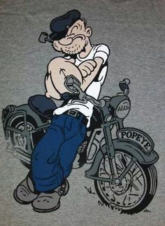 """Popeye"" was not a Merchant Seaman; he was a USN Sailor. He clearly states so in American English, ""I'm Popeye the Sailor man. Motorcycle Posters, Motorcycle Art, Bike Art, Cartoon Kunst, Cartoon Art, Cartoon Characters, Popeye And Olive, Popeye The Sailor Man, Classic Cartoons"