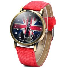 WoMaGe 1128-3 British Flag Pattern Female Quartz Watch Round Dial Leather Band
