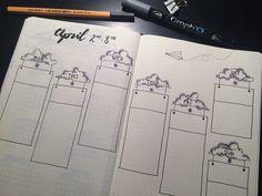 Bullet journal weekly spread, cloud theme