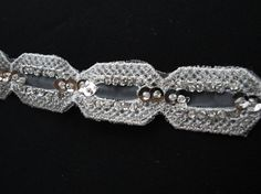 """12"""" Long Piece of 1"""" Wide White Organza Beaded and Sequined Tulle Trim Silver Metallic Embroidery  for Sewing and Crafts S115"""
