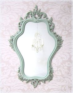 SHABBY CHIC MIRRORS For Sale Vintage Framed Shabby Chic Nursery Mirror Mint Green Baby Nursery Decor French Country Decorative Roses on Etsy, $159.00