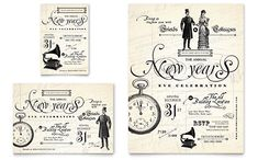 Vintage New Year's Party - Leaflet Template Design Sample
